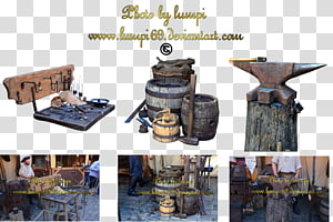 Blacksmith Tools 1, brown wooden barrel collage PNG