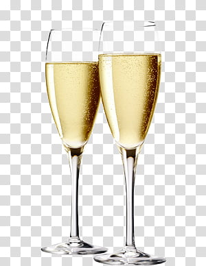 Happy New Year , two flute glasses PNG