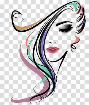 Women Long Hair Style, girl face Vector image PNG