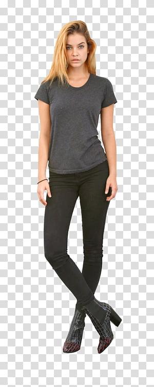Barbara Palvin, women's gray scoop-neck T-shirt PNG