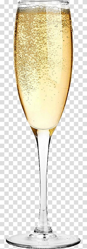 Happy New Year , filled champagne flute glass PNG