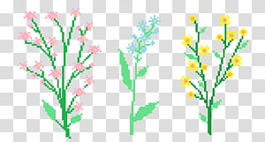 Aesthetic, three assorted flowers PNG clipart