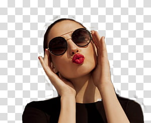 Gal Gadot in black top with sunglasses PNG