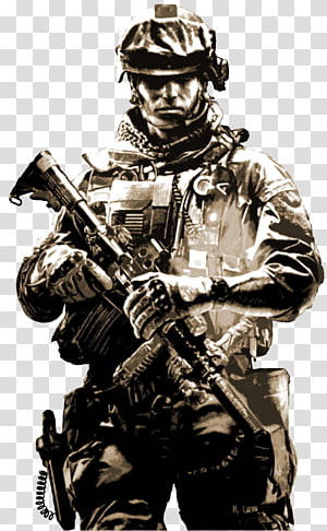 Battlefield Soldier, grayscale male army PNG clipart