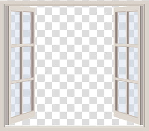 Windows ByunCamis, glass window with white frame illustration PNG