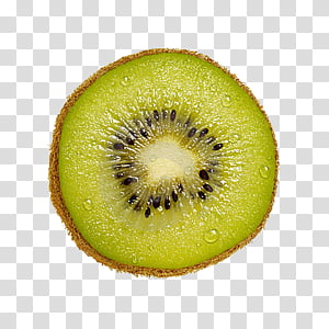 Fruit, sliced green kiwi fruit with water dew PNG