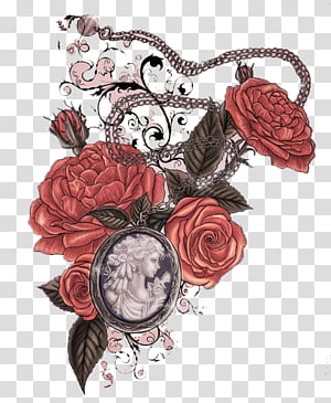 Miscellaneous s, silver cameo necklace and red roses painting PNG clipart