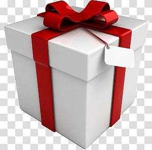 Xmas present box 1, white present box PNG