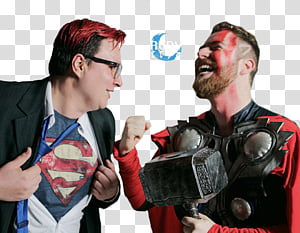 Luba Tv, men wearing Superman and Thor costumes PNG clipart