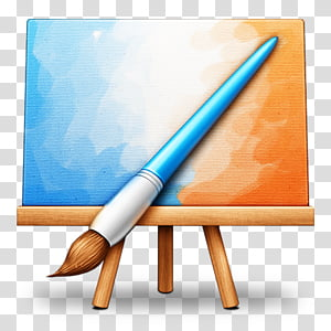 OS X dock icons, Pixelmator, paint brush and easel icon PNG clipart